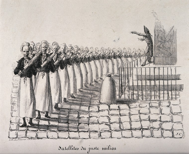 A regiment of clyster-wielding apothecaries orchestrated by General George Mouton de Lobau; representing his use of water-cannons in quelling riots. Lithograph by J.C., 1831.